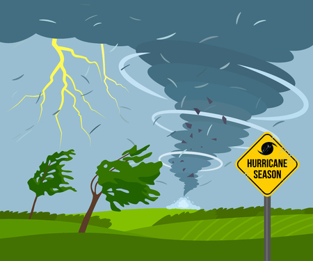 A devastating tornado in the countryside is breaking trees. bad weather landscape and road sign of disaster and warning.
