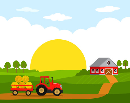 Sunrise on the farm. Rural landscape with hangar and red tractor with trailer and harvest.Flat vector illustration