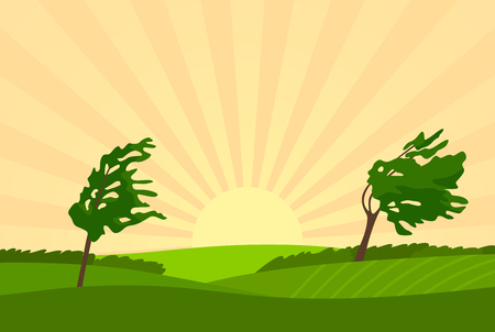 Evening summer rural landscape with trees, fields, starburst and windy weather. vector illustration Çizim