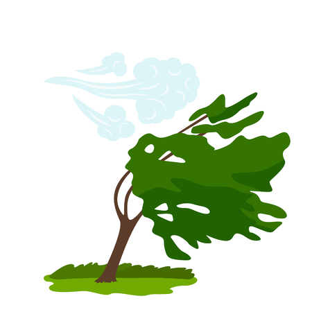The icon of the wind that bends the green tree. concept of weather, tornado and other elements of nature. flat vector illustration