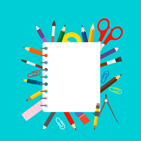 School notebooks and school stationery such as pens, pencils, scissors, compasses, shrubs. Back to school concept. flat illustration vector