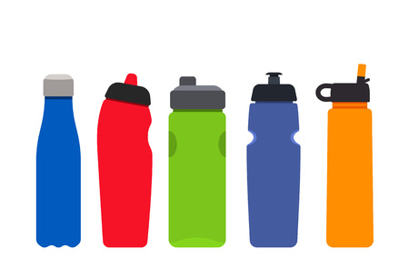 A set of plastic colored bottles for sports and fitness. Silhouettes of aqua mineral water containers. flat vector illustration Çizim
