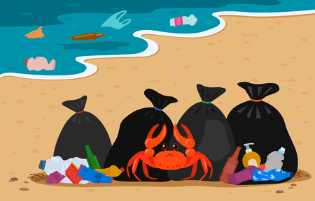 sea crab entangled in plastic on the background of landfills and garbage bags on the beach. polluted coast by human waste. Protect the environment. flat vector illustration