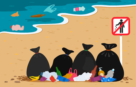 plastic and trash bags on the beach with a stop sign trash. polluted coast by human waste. Protect the environment. flat vector illustration