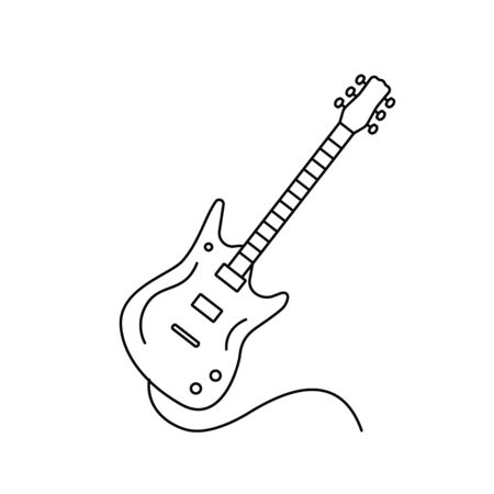 Linear icon electric guitar with a cord in the cartoon style. flat vector illustration