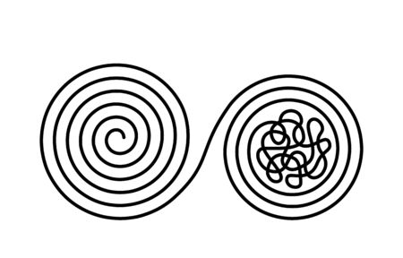 Chaos and disorder turns into a formed even tangle with one line. Chaos and order theory. flat vector illustration Çizim