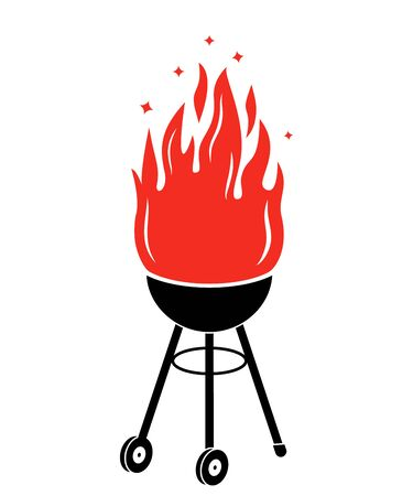 Silhouette barbecue cooking on a fire. flat vector illustration Çizim