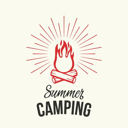 Retro summer camping banner with bonfire and logs in vintage style. flat vector illustration on white background Çizim