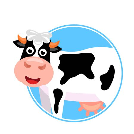 Cute cow with a pink udder in a round frame. label template for dairy products. flat vector illustration