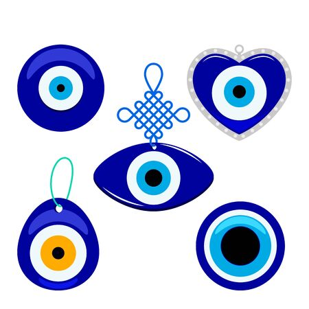 Turkish traditional set of blue glassy boncuk mascot. Symbol from evil eye isolated on white background. flat vector illustration in cartoon style