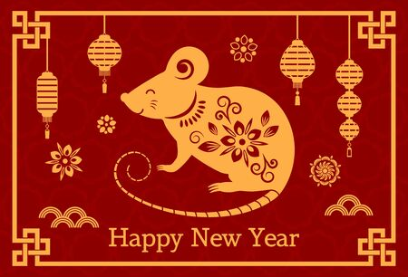 Greeting card with Chinese new year 2020 white rat on the astrological calendar. flat vector