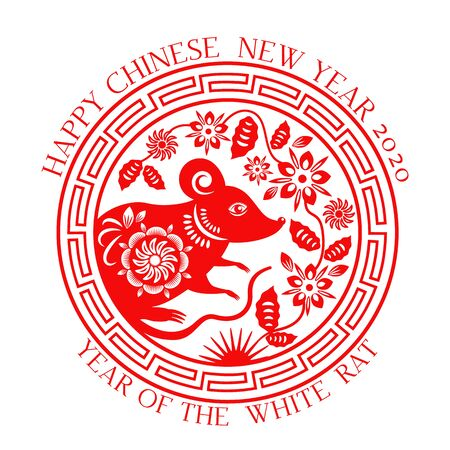 Greeting card with Chinese new year 2020 white rat on the astrological