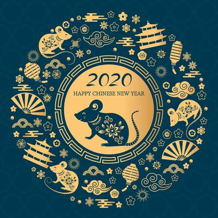 Happy Chinese New Year. The white rat is the symbol of 2020 Chinese year of the new year. Round golden vector illustration Çizim