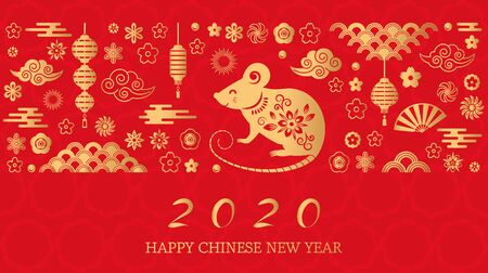 Happy Chinese New Year. The white rat is the symbol of 2020 Chinese year of the new year. Template banner, poster, greeting cards. Fan, rat, cloud, lantern, flowers. Çizim