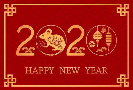 Postcard with the Chinese New Year 2020 rat on the astrological calendar. flat isolated vector