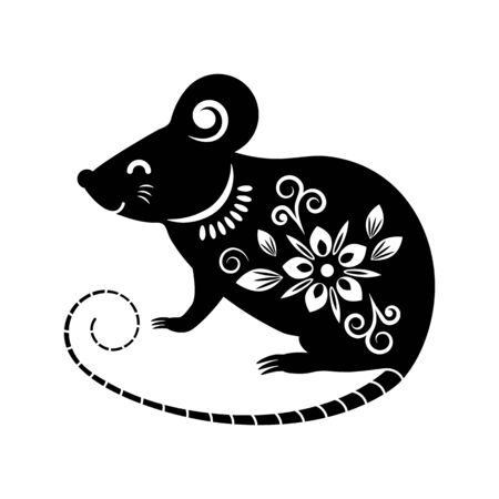 Black silhouette of a rat in oriental style symbol of 2020.