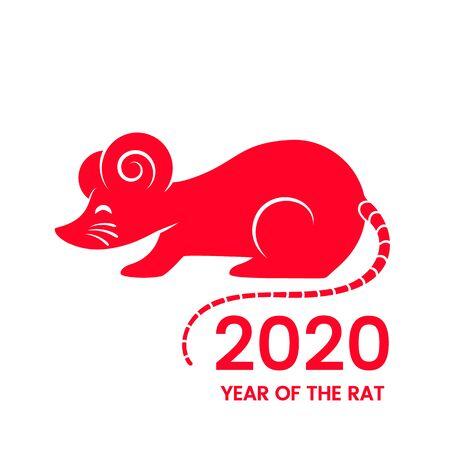 Carte postale avec le rat blanc du Nouvel An chinois 2020 sur le calendrier astrologique. Vecteurs