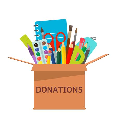 brown cardboard box for donations full of stationery to a school for poor people. Illustration