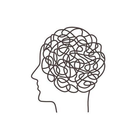 El caos en los pensamientos determina el comportamiento humano. concepto de psicología. Cerebros humanos en el fondo del perfil de una persona en un estilo lineal. Ilustración de vector