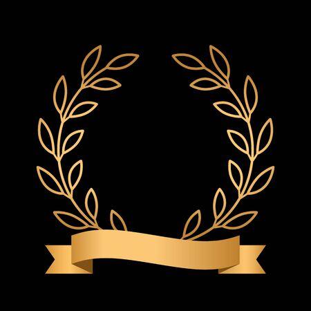 Golden winner or champion laurel wreath with golden ribbon.  イラスト・ベクター素材