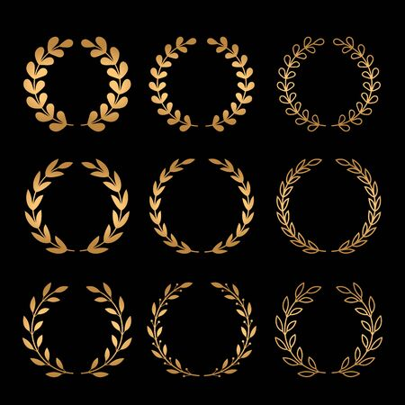 A large set of various laurel golden wreaths.