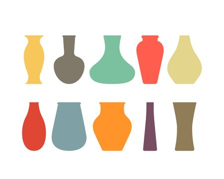 A large collection of ceramic, glass vases of different eras. Ilustrace