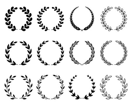 Un grande set di varie corone di alloro. simbolo del vincitore e del campione. illustrazione vettoriale piatta isolata