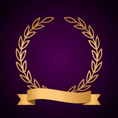 Golden winner or champion laurel wreath with golden ribbon. vector illustration on a black background