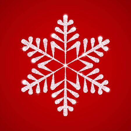 Festive white textured snowflake with shine and glitter on a red background.