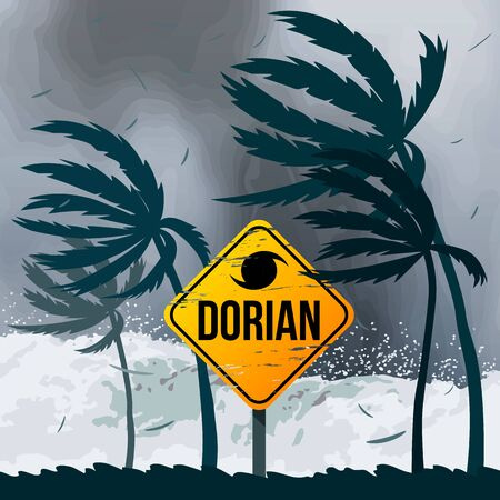 Hurricane Dorian in the USA. Tornado in America on the ocean against the backdrop of the beach and palm trees.