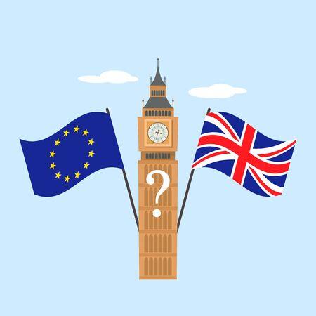 european flag and britain flag on big ben background. Brexit