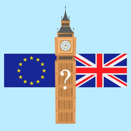 european flag and britain flag on big ben background. Brexit