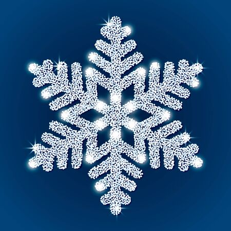 Festive white textured snowflake with shine and glitter on a blue background. concept of winter new year holidays. vector illustration Çizim