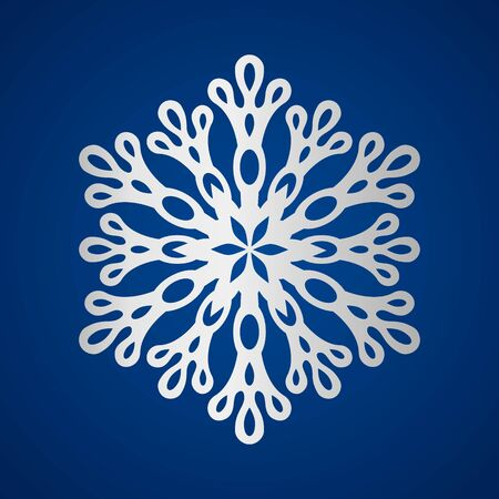 Festive white silver shiny snowflake. The concept of the winter New Year holidays. vector illustration on a blue background