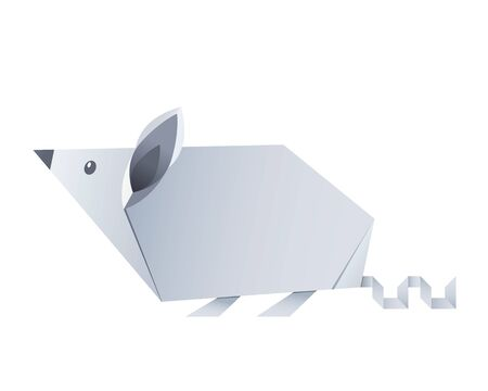 folded paper origami animal mouse or rat symbol of 2020 according to the Chinese calendar. vector illustration isolated on white background  イラスト・ベクター素材