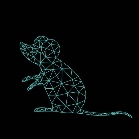 mouse or rat symbol of 2020 on the Chinese calendar. animal according to the Asian horoscope. low poly line art in triangle. geometric polygon. vector illustration