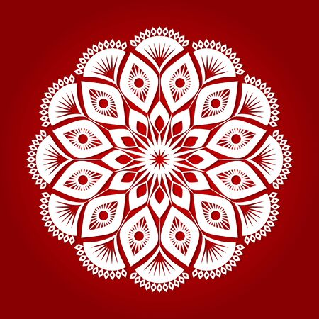 Festive white patterned lace snowflake. The concept of the winter New Year holidays. vector illustration on a red background