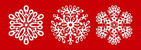 Set of beautiful patterned laser cut snowflakes. Template christmas new year decorations designs. Elements for the New Year holidays. vector illustration on a red background