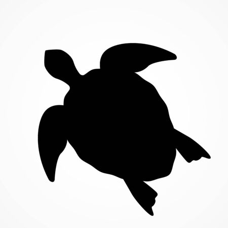 top view of a large sea turtle. black silhouette of a turtle. Иллюстрация