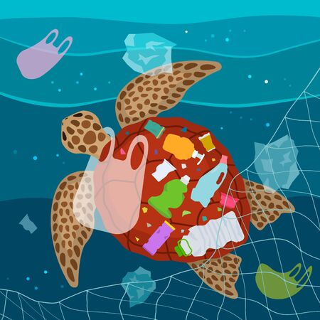 Ecological disaster of plastic garbage in the ocean. A large turtle entangled in a net and eats plastic garbage