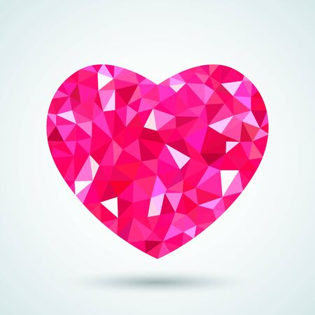 red raspberry heart in triangulation polygonal style. Modern heart icon with brilliance glitter on a white background.