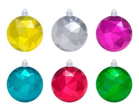 Colorful New Years balls in polygonal style.