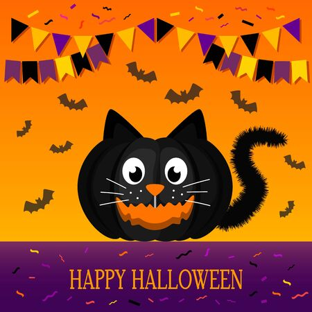 Greeting banner or invitation from happy Halloween. Cute black cat character carved from pumpkin for Halloween holiday. Illustration