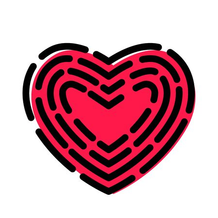 modern heart icon in linear style in the form of a fingerprint.