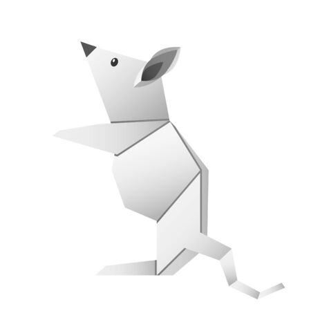 folded paper origami animal mouse or rat symbol of 2020 according to the Chinese calendar