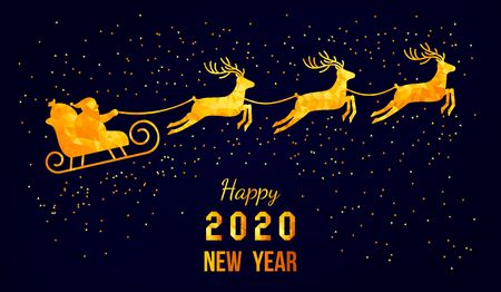Christmas card. Santa Claus in a sleigh and a reindeer sleigh on a background with a gold reflection. flat vector illustration Ilustração