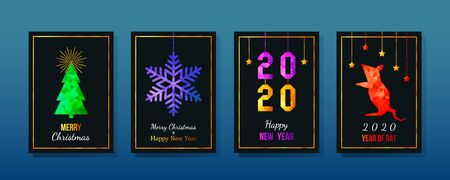 Set of 2020 Happy New Year rat greeting cards on the Chinese calendar.