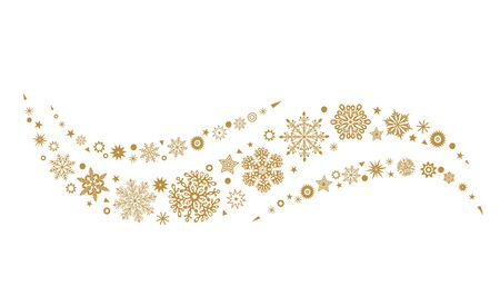 A gray whirlwind of golden snowflakes and stars. New Years element. concept Xmas. flat vector illustration isolated on white background Иллюстрация
