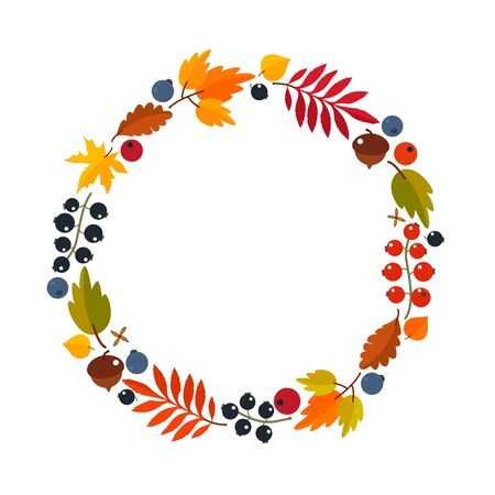 Autumn wreath of maple leaves, berries, acorns. Thanksgiving concept. flat vector illustration isolated on white background wreath Иллюстрация