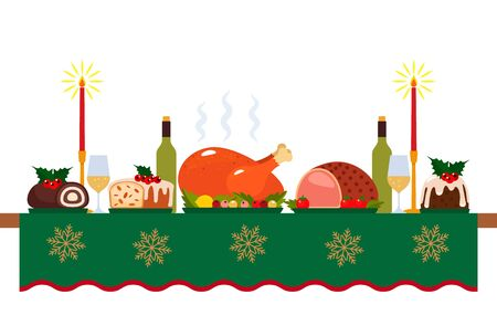traditional festive christmas table with tablecloth, turkey and christmas pudding. Congratulatory decor for the new year. Иллюстрация